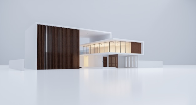 Modern cozy house mockup in luxury style. 3d rendering