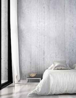 Modern cozy interior design indoor of bedroom and sideboard and chest of drawer and concrete wall background
