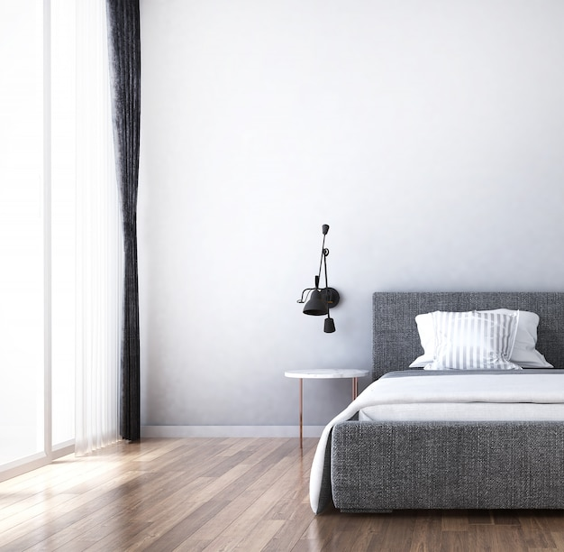 ベッドルームとサイドボードの屋内のモダンな居心地の良いインテリアデザイン、チェストと引き出しと白い壁の背景