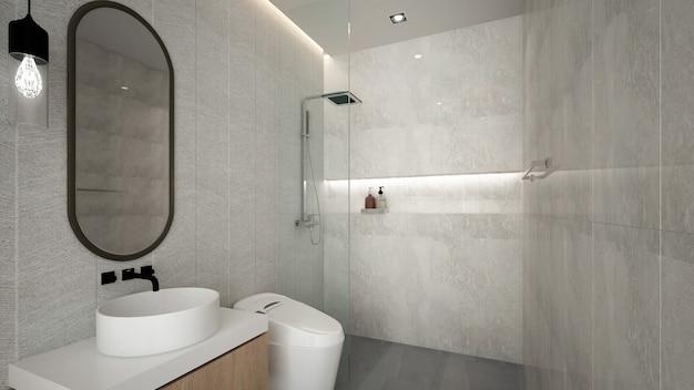 Современный уютный интерьер ванной комнаты и узор стены -3d рендеринг