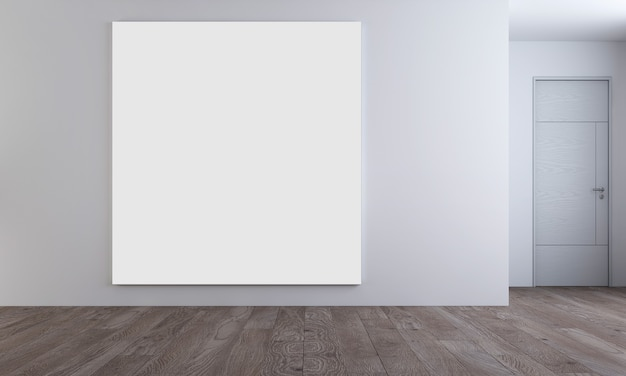 Современный уютный интерьер макет дизайнерской мебели и холста с пустой рамкой гостиной и фона стены, 3d-рендеринг