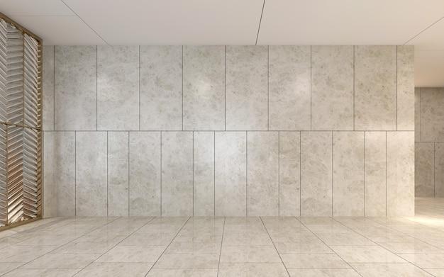 モダンで居心地の良いインテリアモックアップデザインの家具の装飾とリビングルームの空のホールスペースと壁のパターンの背景、3dレンダリング