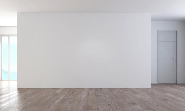 현대 아늑한 인테리어 디자인 가구 장식과 빈 벽과 거실 및 벽 패턴 배경, 3d 렌더링을 모의