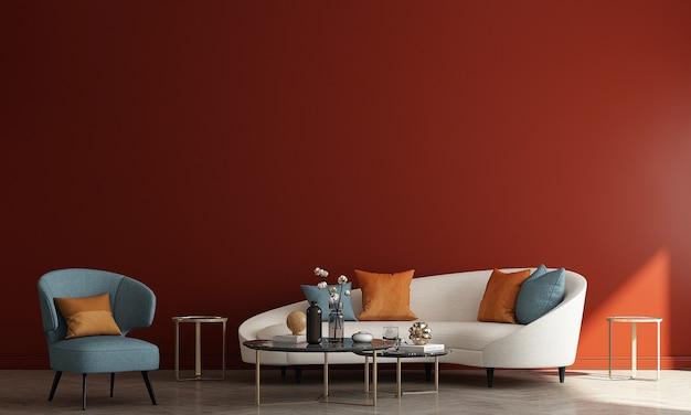 현대 아늑한 인테리어는 거실과 벽 패턴 배경, 3d 렌더링의 디자인 가구 장식을 모의
