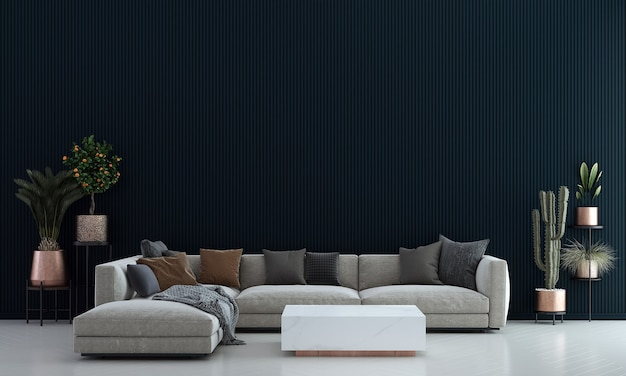 モダンで居心地の良いリビングルームと青いパターンの壁のテクスチャ背景インテリアデザイン