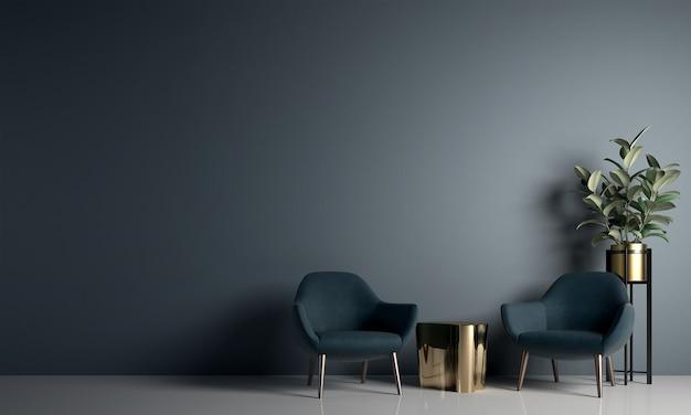 Современная уютная гостиная и дизайн интерьера с синей стеной / 3d-рендеринг