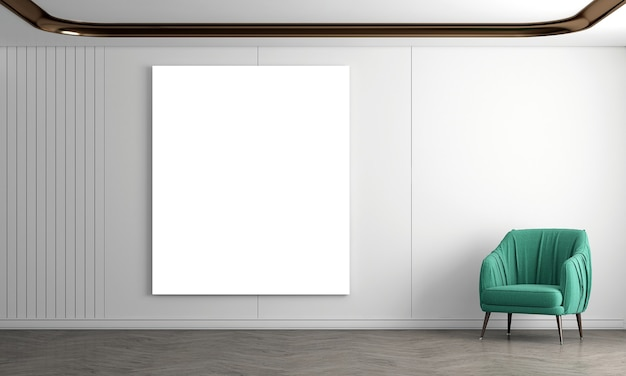 Modern cozy living room and empty canvas on white wall texture background interior design