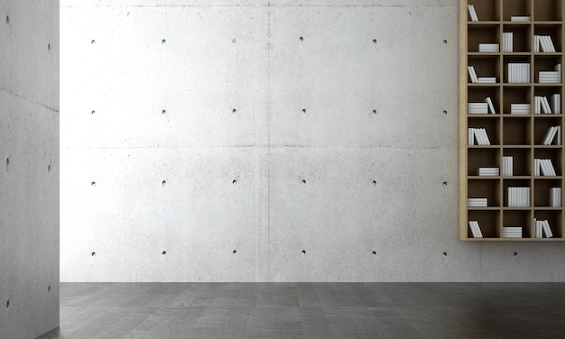 Макет интерьера современной уютной гостиной, фон пустой бетонной стены и книжная полка, скандинавский стиль, 3d визуализация