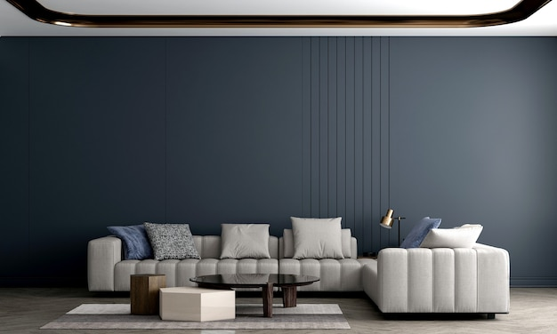 Modern cozy living room and sofa decoration and empty wall blue texture background interior design