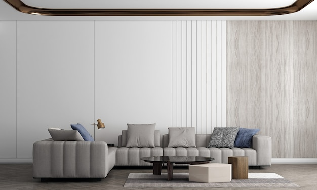Modern cozy living room and sofa decoration and empty wall texture background interior design