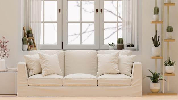 흰색 편안한 소파 3d 렌더링을 갖춘 현대적이고 아늑한 미니멀한 흰색 거실 인테리어 디자인