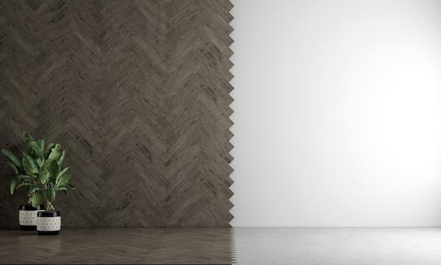 빈 거실과 나무와 흰색 빈 벽 질감 background3d 렌더링의 장식 인테리어 디자인을 현대 아늑한 모의