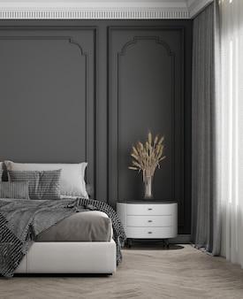 ベッドルームのインテリアのモダンで居心地の良いモックアップデザインには、ベッド、クラシックなパターンの壁が付いたサイドテーブルがあります