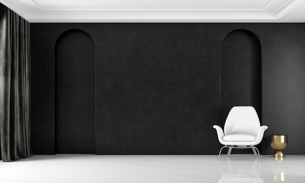 Modern cozy mock up interior design of luxury living room and black wall pattern background