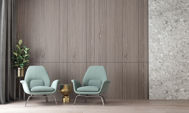 Modern cozy mock up interior design of luxury living room and terrazzo and wooden wall pattern background