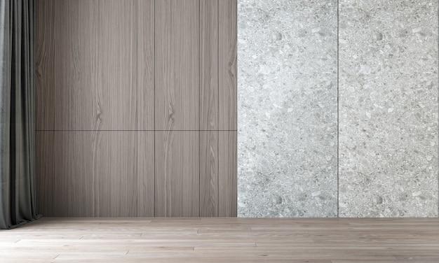 빈 거실과 녹색 나무 패턴 배경의 인테리어 디자인을 현대 아늑한 모의