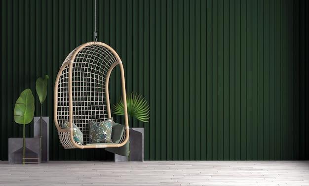 현대 아늑한 고급 거실과 녹색 벽 패턴 배경의 인테리어 디자인을 모의