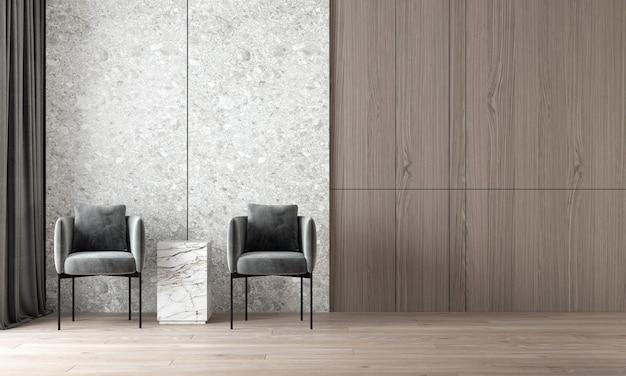 Современный уютный макет дизайна интерьера роскошной гостиной и фона стены терраццо