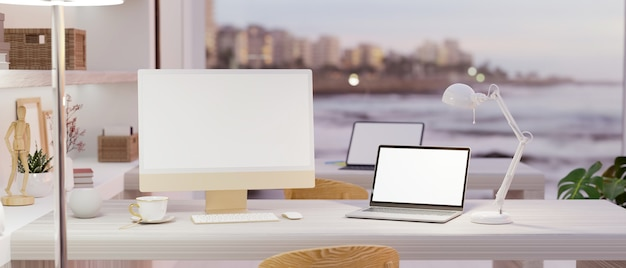 Modern cozy office room interior with computer and laptop mockup on stylish worktable 3d rendering