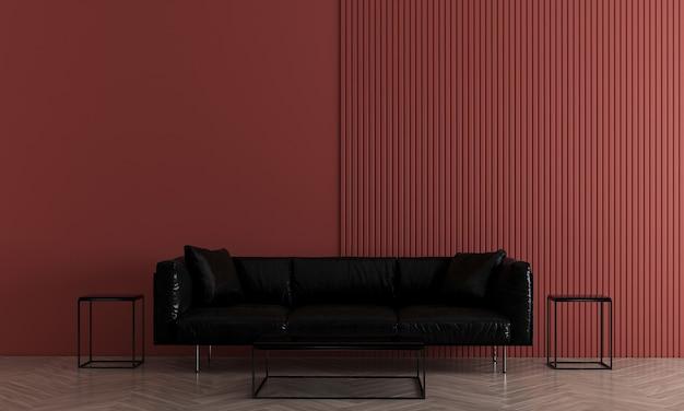 モダンで居心地の良い赤い壁のリビングルームにはソファと装飾があり、インテリアのモックアップ、3dレンダリング