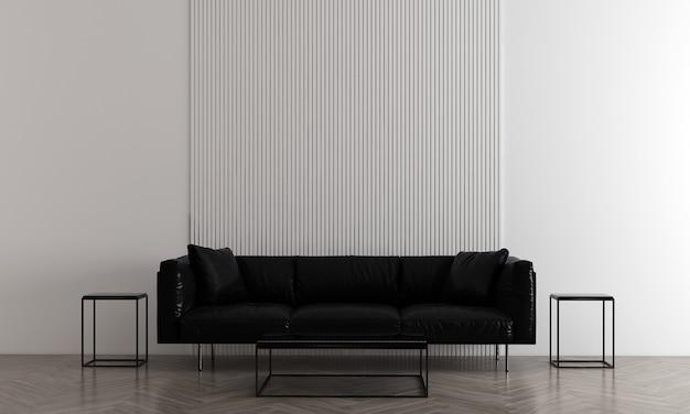 モダンで居心地の良い白い壁のリビングルームにはソファと装飾があり、インテリアのモックアップ、3dレンダリング