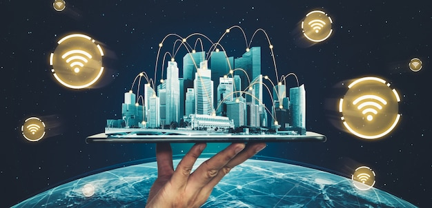 Modern creative communication and internet network connect in smart city