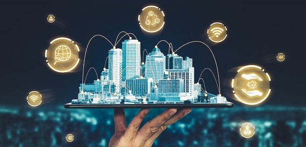 The modern creative communication and internet network connect in smart city