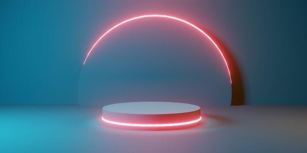 青い部屋に円筒形のモダンな円筒形の輝きの表彰台