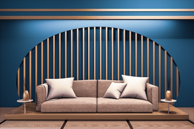 Modern dark blue japanese room interior with wooden low sofa on window paper zen design .3d rednering