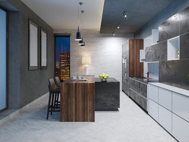 家具や設備を備えたモダンなダークキッチンのインテリア。 3dレンダリング