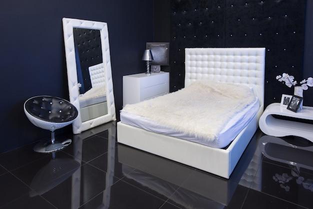 Premium Photo Modern Dark Luxury Black Interior With White Chic Furniture