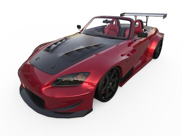 현대식 다크 레드 스포츠 컨버터블. 튜닝과 함께 자동차를 엽니다. 3d 렌더링.