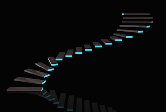 Modern dark stairs with blue light on copy space black background.