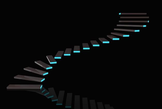 Современные темные лестницы с синим светом на фоне копирования пространства черный фон.