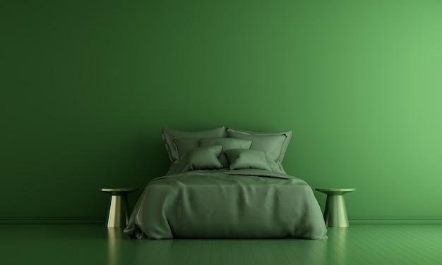 モダンな装飾と寝室のインテリアと家具のモックアップと緑の壁のテクスチャの背景