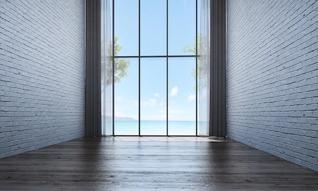 Современный декор и макет интерьера комнаты и пустая гостиная, фон стены и вид на море