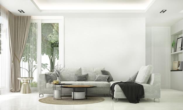 아늑한 거실과 흰 벽 질감, 3d 렌더링의 현대적인 장식 인테리어 디자인