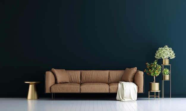 Modern decor and living room interior and furniture mock up and blue wall texture background