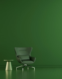 Modern decor and living room interior and furniture mock up and green wall texture background