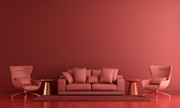 Modern decor and living room interior and furniture mock up and red wall texture background