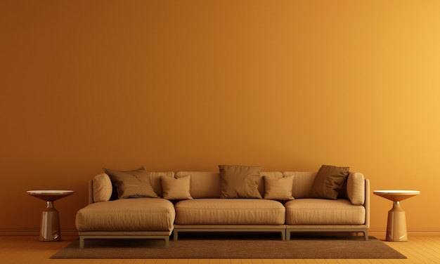 Modern decor and living room interior and furniture mock up and yellow wall texture background