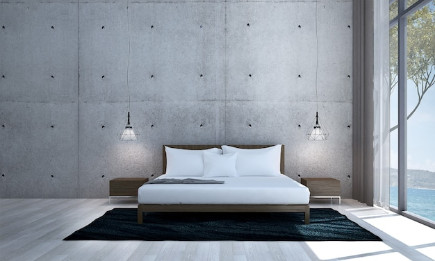 Modern decor and mock up room interior and bedroom and concrete wall background