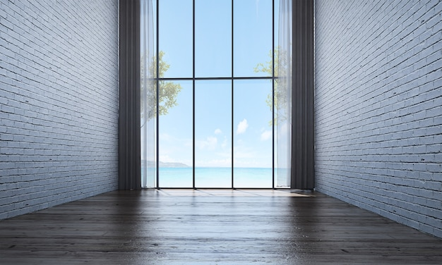 Modern decor and mock up room interior and empty living room and wall background and sea view