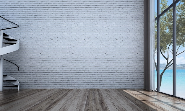 Modern decor and mock up room interior and living room and brick wall background