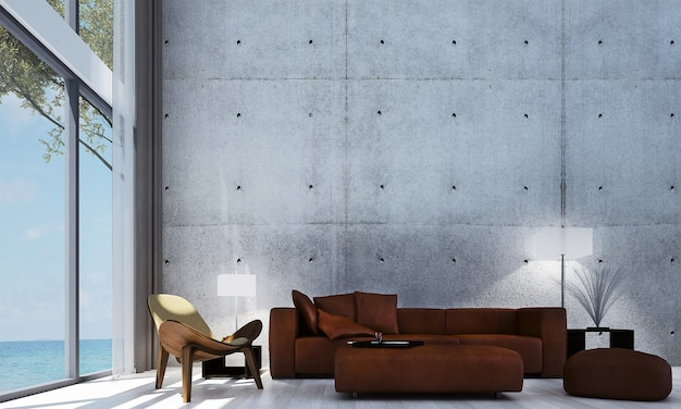 Modern decor and mock up room interior and living room and wall background and red sofa