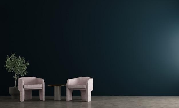 현대 장식 거실과 파란색 벽 패턴 배경, 3d 렌더링의 인테리어 디자인을 모의