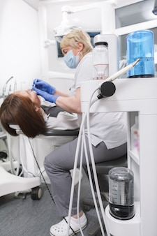Modern dental treatment device and professional dentist working