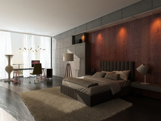 Modern design bedroom interior