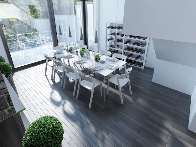 Modern design dining with panoramic window and white furniture and hanging lamp over served table.