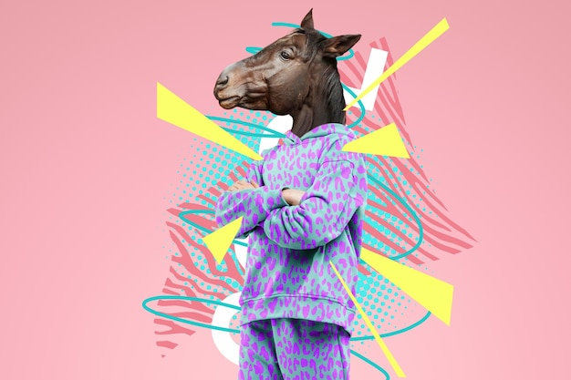 Modern design, a human body with a horse's head, prudence, confidence. bright trendy colors, shocking art, style for a magazine, fashionable web design. copy space.